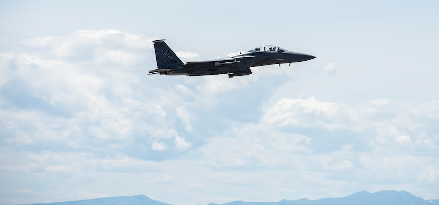 Col. Jefferson O'Donnell, 366th Fighter Wing commander, takes off from Mountain Home Air Force Base, Idaho, for Rich Sykes', Mountain Home mayor, orientation flight, June 2, 2017. During the flight O'Donnell flew Sykes all around Idaho and finished with flying over Mountain Home.(U.S. Air Force Photo by Senior Airman Jeremy L. Mosier)