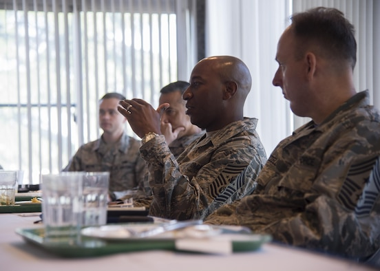 "Chief Master Sgt. of the Air Force Kaleth O. Wright addresses Airmen's concerns during his Indo-Asia Pacific immersion tour at Misawa Air Base, Japan, June 9, 2017. Wright explained how the 35th Fighter Wing Airmen are the definition of resilient warfighter's, ready to ""fight tonight"" during an all-call hosted toward the conclusion of his visit. (U.S. Air Force photo by Senior Airman Deana Heitzman)"