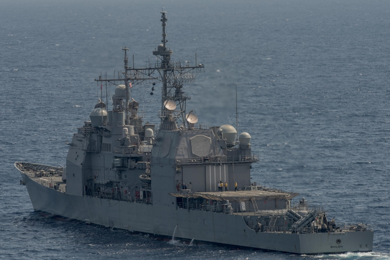 WATERS SOUTH OF JAPAN (May 22, 2017) The Ticonderoga-class guided missile cruiser USS Shiloh (CG 67) patrols the waters South of Japan. Carrier Strike Group 5 provides a combat-ready force that protects and defends the collective maritime interests of its allies and partners in the Indo-Asia-Pacific region. (U.S. Navy photo by Mass Communications Specialist 2nd Class Nathan Burke/Released)