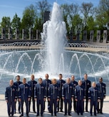 The U.S. Air Force Singing Sergeants perform at the World War ll Memorial during the recording of the nation anthem video project. The video was produced in cooperation with U.S. Air Force Television for release in base movie theaters across the globe. (Photo by Chief Master Sgt. Bob Kamholz)