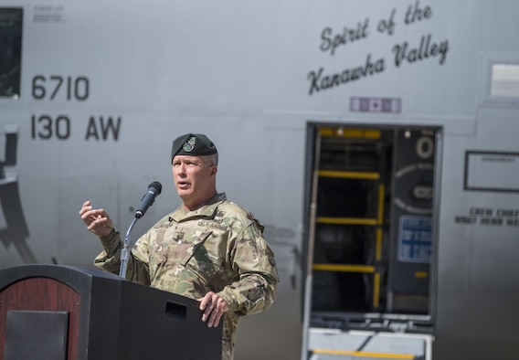 """Maj. Gen. James Hoyer, West Virginia National Guard Adjutant General, addresses attendees at an aircraft naming ceremony held June 9, 2017 at McLaughlin Air National Guard Base, Charleston, W.Va. The C-130H aircraft was renamed the """"Spirit of the Kanawha Valley"""" to honor the surrounding community in which the base resides. (U.S. Air National Guard photo by Tech. Sgt. De-Juan Haley)"""