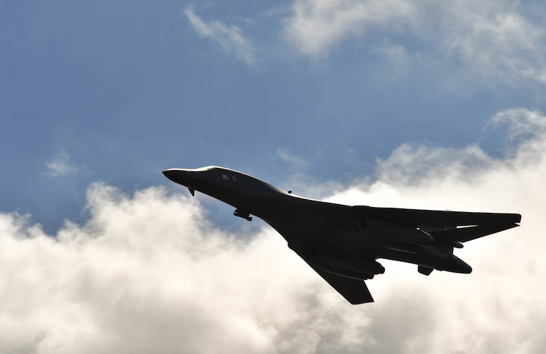 A U.S. Air Force Global Strike Command B-1B Lancer flies overhead during exercise Saber Strike 17 at Adazi Military Range, June 9, 2017. The B-1 was controlled by U.S. Idaho and Michigan Air National Guard joint terminal attack controllers, who provide coordinates for military aircraft assaults. Saber Strike 17 continues to increase participating nations' capacity to conduct a full spectrum of military operations. (U.S Air Force photo by Senior Airman Tryphena Mayhugh)