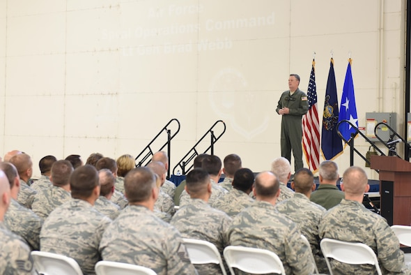 """U.S. Air Force Lt. Gen. Brad Webb, commander of Air Force Special Operations Command, addresses Airmen of the 193rd Special Operations Wing during an """"All Call"""" held on base during his visit, June 10, 2017.  Webb spoke on a variety of topics including the vison, mission and priorities of AFSOC; AFSOC's strategic value to the nation; and the wing's spectrum of conflict. Webb also personally recognized six award-winning members of the wing for their outstanding efforts throughout the year. He concluded the """"All Call"""" by taking questions from the Airmen in attendance. (U.S. Air National Guard photo by Tech. Sgt. Claire Behney/Released)"""