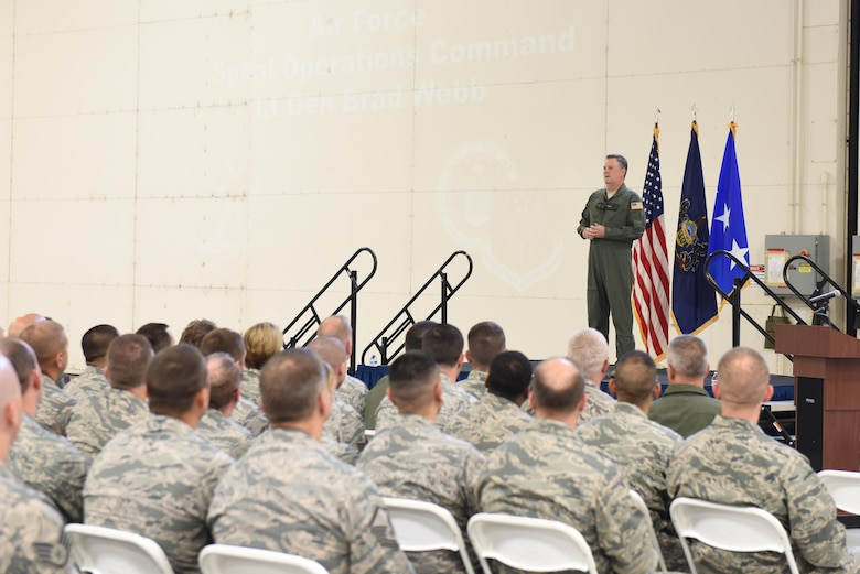 "U.S. Air Force Lt. Gen. Brad Webb, commander of Air Force Special Operations Command, addresses Airmen of the 193rd Special Operations Wing during an ""All Call"" held on base during his visit, June 10, 2017.  Webb spoke on a variety of topics including the vison, mission and priorities of AFSOC; AFSOC's strategic value to the nation; and the wing's spectrum of conflict. Webb also personally recognized six award-winning members of the wing for their outstanding efforts throughout the year. He concluded the ""All Call"" by taking questions from the Airmen in attendance. (U.S. Air National Guard photo by Tech. Sgt. Claire Behney/Released)"