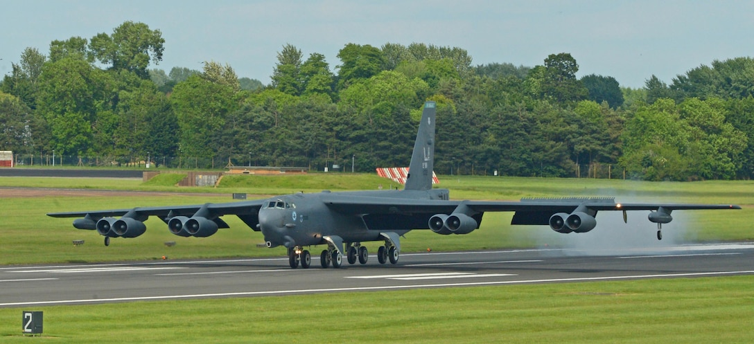 A B-52H Stratofortress from Barksdale Air Force Base, La., lands at Royal Air Force Fairford, United Kingdom, June 1, 2017. The B-52 returned from a mission in support of exercise Arctic Challenge, a two-week multinational training exercise that included live-flying events to train on offensive and defensive air combat operations. Training with allies and joint partners improves coordination between allies and enables the U.S. Air Force to build enduring relationships necessary to confront a broad range of global challenges. (U.S. Air Force photo/Senior Airman Curt Beach)
