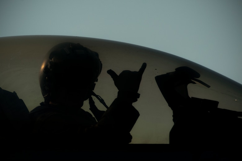 A U.S. Air force pilot assigned to the 35th Fighter Squadron shows unit pride while on the flightline. (Courtesy Photo)