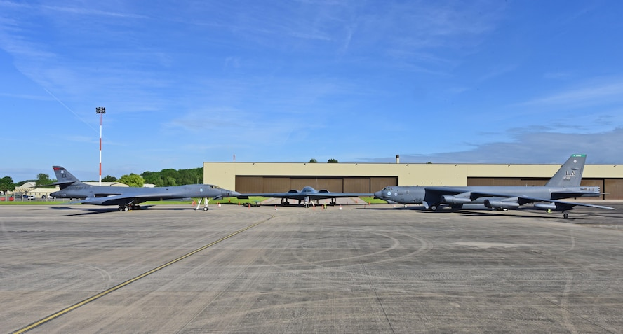 A B-1B Lancer, B-2 Spirit and B-52 Stratofortress are parked on the ramp at Royal Air Force Fairford, U.K., June 12, 2017. This marks the first time in history that all three of Air Force Global Strike Command's strategic bomber aircraft are simultaneously in the European Theatre, demonstrating the flexible global strike capability. (U.S. Air Force photo by Airman 1st Class Randahl Jenson)