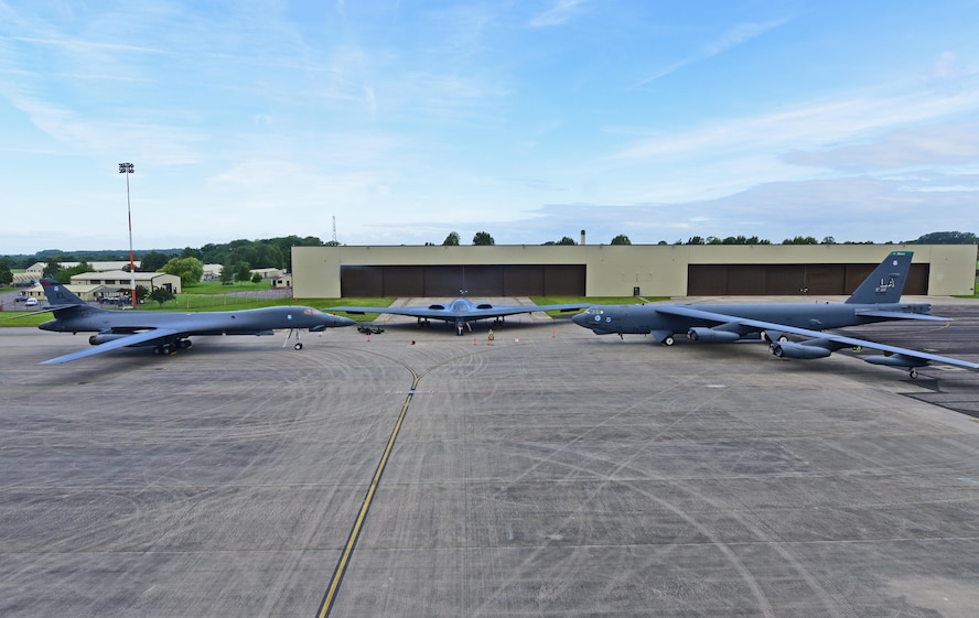 A B-1B Lancer from Ellsworth Air Force Base, S.D., a B-2 Spirit from Whiteman Air Force Base, Mo., and a B-52 Stratofortress from Barksdale Air Force Base, La., are parked on the ramp at Royal Air Force Fairford, U.K., June 12, 2017. This marks the first time in history that all three of Air Force Global Strike Command's strategic bomber aircraft are simultaneously in the European Theatre, demonstrating the flexible global strike capability. (U.S. Air Force photo by Airman 1st Class Randahl Jenson)