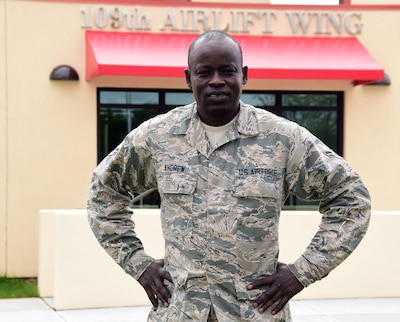 Air Force Airman 1st Class Frances Andrew is assigned to the 109th Airlift Wing's command support staff at Stratton Air National Guard Base, N.Y. Andrew first arrived in the United States in 2001 at age 21. New York Air National Guard photo by Senior Master Sgt. William Gizara