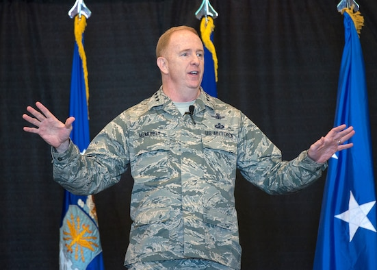 Lt. Gen. Robert D. McMurry, Air Force Life Cycle Management Center commander, speaks to members of the AFLCMC workforce during an all-call at Hanscom Air Force Base, Mass., June 8. This was the general's first visit to the base since taking command last month, and during the all-call he highlighted his vision for the center, priorities and focus areas. (U.S. Air Force photo by Mark Herlihy)