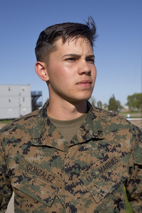 Lance Cpl. Xander Gonzalez a data Marine with Marine Wing Support Squadron 473, Marine Aircraft Group 41, 4th Marine Air Wing, Marine Forces Reserve, poses for a picture at Canadian Forces Base Cold Lake during exercise Maple Flag 50, June 2, 2017. During the exercise, Gonzales constructed the data network used by the Marines of MWSS-473 to communicate with Marines in the field. (U.S. Marine Corps photo by Lance Cpl. Niles Lee/Released)