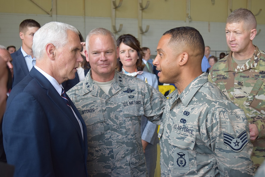 Vice President Mike Pence meets with Staff Sgt. Isaac Caleb of the 94th Security Forces Squadron, after speaking to service members, civilians and families at Dobbins Air Reserve Base, Georgia June 9, 2017. Caleb recently returned from Afghanistan, where he served on a Fly Away Security Team. (Georgia National Guard photo/CPT William Carraway)