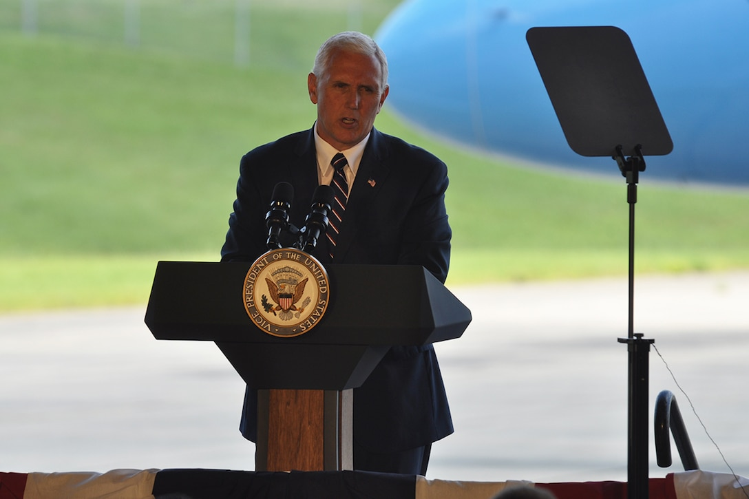 Vice President Mike Pence pledges the administration's full support of our military service members and our national defense while visiting Dobbins Air Reserve Base, Georgia June 9, 2017. During a 20 minute address to service members, civilians and families, he stressed that there's no higher priority than America's safety, and President Donald J. Trump will make historic investments in our military. (U.S. Air Force photo/James Branch)