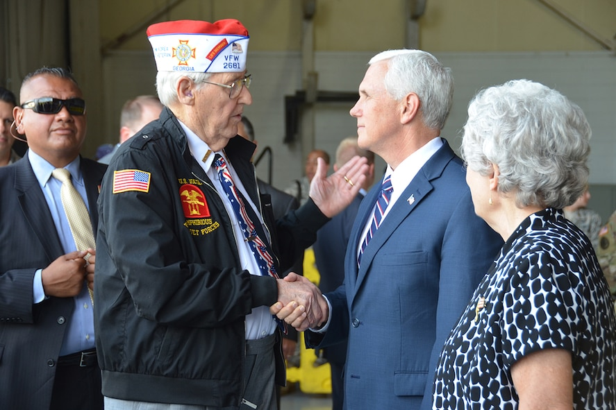 Vice President Mike Pence meets U.S. Navy Veteran Alan Hall and his wife Buena. Hall joined the Navy on his 17th birthday in 1943, and served in the U.S. Naval Amphibious Assault Forces during World War II and on the U.S.S. Brown DD 546 during the Korean War. (U.S. Air Force photo/Tech. Sgt. Kelly Goonan)