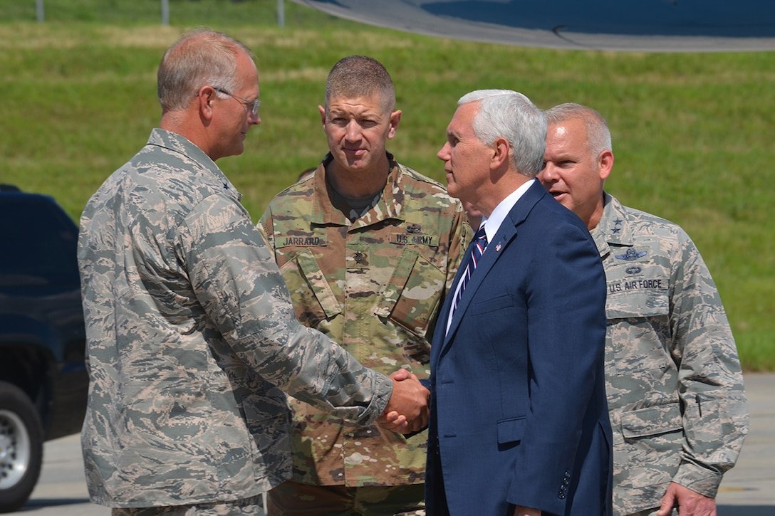 Brig. Gen. Steven B/ Parker, 94th Airlift Wing commander, Maj. Gen. Joe Jarrard, The Adjutant General of Georgia, and Maj. Gen. John P. Stokes, 22nd Air Force commander welcome Vice President Mike Pence to Dobbins Air Reserve Base, Georgia June 9, 2017 . The vice president brought greetings on behalf of President Donald J. Trump. During an address, Pence pledged the administration's full support of our military service members and national defense. (U.S. Air Force photo/Tech. Sgt. Kelly Goonan)
