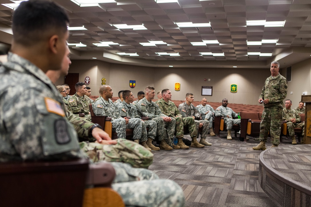 Sgt. Maj. Harry Bennett, with the United States Army Reserve Command G-3/5/7, briefs Warriors competing in the 2017 U.S. Army Reserve Best Warrior Competition at Fort Bragg, N.C., June 12. This year's Best Warrior Competition will determine the top noncommissioned officer and junior enlisted Soldier who will represent the U.S. Army Reserve in the Department of the Army Best Warrior Competition later this year at Fort A.P. Hill, Va. (U.S. Army Reserve photo by Spc. Lisa Velazco) (Released)