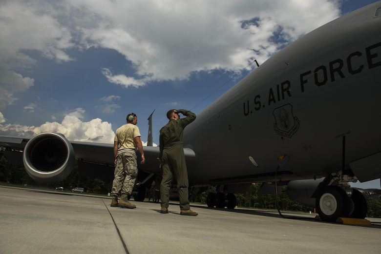 Capt. Cody Jordan, right, 351st Air Refueling Squadron pilot, conducts a pre-flight inspection on a KC-135R Stratotanker with Master Sgt. Jacob Wavrin, left, 459th Aircraft Maintenance Squadron crew chief, during BALTOPS exercise at Powidz Air Base, Poland, June 12, 2017. The exercise is designed to enhance flexibility and interoperability, to strengthen combined response capabilities, as well as demonstrate resolve among Allied and Partner Nations' forces to ensure stability in, and if necessary defend, the Baltic Sea region. (U.S. Air Force photo by Staff Sgt. Jonathan Snyder)