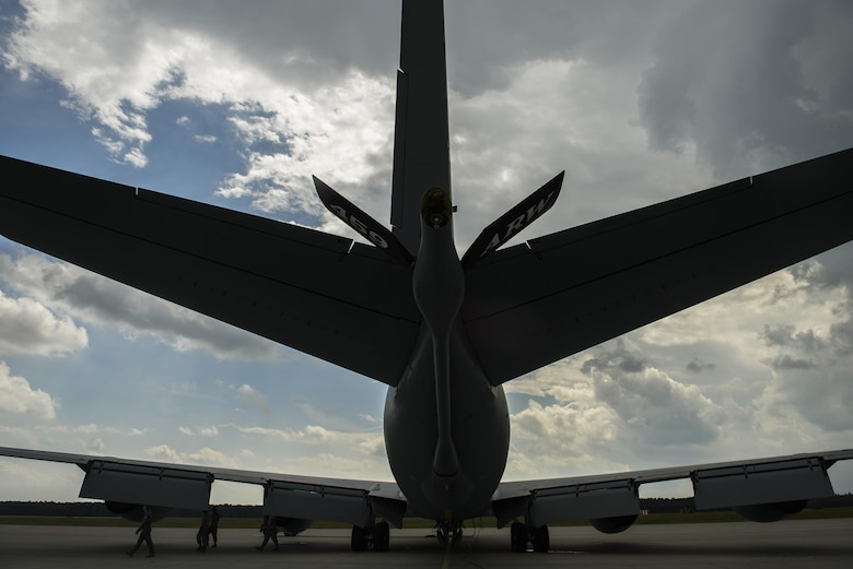 Capt. Cody Jordan, left, 351st Air Refueling Squadron pilot, conducts a pre-flight inspection on a KC-135R Stratotanker during BALTOPS exercise at Powidz Air Base, Poland, June 12, 2017. The exercise is designed to enhance flexibility and interoperability, to strengthen combined response capabilities, as well as demonstrate resolve among Allied and Partner Nations' forces to ensure stability in, and if necessary defend, the Baltic Sea region. (U.S. Air Force photo by Staff Sgt. Jonathan Snyder)