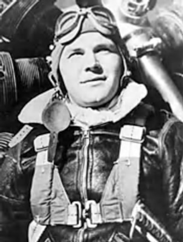 A native of Portland, Oregon, David Kingsley joined the Army Air Forces in 1942 and became a bombardier assigned to the 97th Bomb Group based in Italy.  On June 23, 1944, just two years after the first Ploiesti raid, he valiantly gave his life to save a wounded crew member on his B-17, fatally stricken by flak and fighters in a mission against Ploiesti.  He was posthumously awarded the Medal of Honor, and Kingsley Field in Klamath Falls, Oregon, is named in his honor.  (USAF photo)