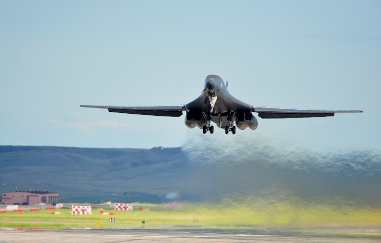 A B-1 bomber takes off from Ellsworth Air Force Base, S.D., to Royal Air Force Fairford, United Kingdom June 6, 2017. The B-1, along with three B-52H Stratofortresses from Barksdale Air Force Base, La., will be supporting a series of multiple joint, multinational exercises. (U.S. Air Force photo by Senior Airman James L. Miller)