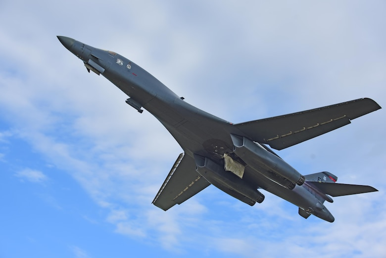A B-1 bomber departs for Royal Air Force Fairford, United Kingdom from Ellsworth Air Force Base, S.D., June 6, 2017. Ellsworth Airmen and its bombers left to support an overseas training exercise that will host more than 2,500 service members. (U.S. Air Force photo by Senior Airman James L. Miller)