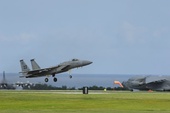 A U.S. Air Force F-15 Eagle assigned to the 44th Fighter Squadron lands on the runway June 7, 2017, at Kadena Air Base, Japan. The F-15 is a tactical fighter that can be operated by one or more pilots; enabling top performance in air-to-air missions. (U.S. Air Force photo by Senior Airman Lynette M. Rolen)