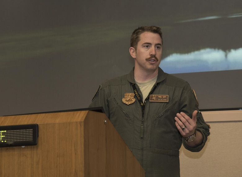 U.S. Air Force Capt. Brian Herring, the 14th Fighter Squadron bravo flight commander, briefs personnel about the 14th FS's role during the large force exercise Red Flag-Alaska 17-2 at Eielson Air Force Base, Alaska, June 7, 2017. The 14th FS's sole mission is suppression of enemy air-defenses during battle. RF-A 17-2 develops a common operating picture using U.S. and partner nation airborne and land-based command and control assets, ultimately refining warfighter integration between participating militaries. (U.S. Air Force photo by Airman 1st Class Sadie Colbert)