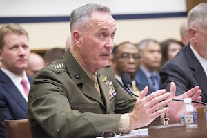 Marine Corps Gen. Joe Dunford, chairman of the Joint Chiefs of Staff, testifies on the fiscal year 2018 defense budget request at a hearing of the House Armed Services Committee in Washington, June 12, 2017. DoD photo by Navy Petty Officer 2nd Class Dominique A. Pineiro