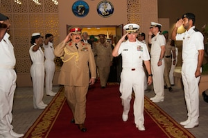 His Majesty, King Hamad bin Isa Al Khalifa, the King of the Kingdom of Bahrain and Vice Adm. Kevin M. Donegan, commander of U.S. 5th Fleet, depart U.S. Naval Forces Central Command headquarters June 12 after a meeting to discuss operations in the U.S. 5th Fleet and coalition operations to defeat ISIS. The King was accompanied by two of his sons, His Highness Brig. Gen. Shaikh Nasser bin Hamad Al Khalifa, Commander of the Royal Guard, and His Highness Maj. Shaikh Khaled bin Hamad Al Khalifa, Commander of the Royal Guard Special Force; the Commander-in-Chief of the Bahrain Defense Force, His Excellency Field Marshal Shaikh Khalifa bin Ahmed Al Khalifa; and the Commander of the Bahraini Royal Navy, His Excellency Rear Adm. Shaikh Khalifa bin Abdullah Al Khalifa. Bahrain has been a partner with the United States in regional maritime security for nearly 70 years.