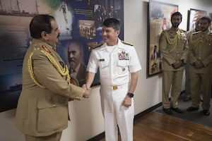 His Majesty, King Hamad bin Isa Al Khalifa, the King of the Kingdom of Bahrain, shakes hands with Vice Adm. Kevin M. Donegan, commander of U.S. 5th Fleet during a visit to discuss operations in the U.S. 5th Fleet area of operations and coalition operations to defeat ISIS, June 12. The King was accompanied by two of his sons, His Highness Brig. Gen. Shaikh Nasser bin Hamad Al Khalifa, Commander of the Royal Guard, and His Highness Maj. Shaikh Khaled bin Hamad Al Khalifa, Commander of the Royal Guard Special Force; the Commander-in-Chief of the Bahrain Defense Force, His Excellency Field Marshal Shaikh Khalifa bin Ahmed Al Khalifa; and the Commander of the Bahraini Royal Navy, His Excellency Rear Adm. Shaikh Khalifa bin Abdullah Al Khalifa. Bahrain has been a partner with the United States in regional maritime security for nearly 70 years.