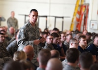 Chief Master Sgt. Russell Louk, 15th Wing, Hickam Air Force Base, Hawaii, speaks to members of the 132d Wing Iowa Air National Guard on June 10, 2017, at the Des Moines Airbase. Louk spoke to the wing about resiliency as part of Wingman Day. (U.S. Air National Guard photo by Staff Sgt. Michael J. Kelly)