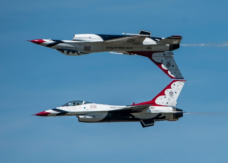 The Thunderbirds, officially known as the U.S. Air Force Air Demonstration Squadron, performs precision aerial maneuvers to demonstrate the capabilities the F-16 Fighter Falcon, the Air Force's premier multi-role fighter jet, Scott Air Force Base, Ill., June 10, 2017.   The Thunderbirds performed their hour-long demonstration at speeds up to 600 mph and fly just a few feet of one another between wingtip to wingtip. This highly maneuverable fighter has proven to be one of the world's best precision tactical bomber and air-to-air combat aircraft.