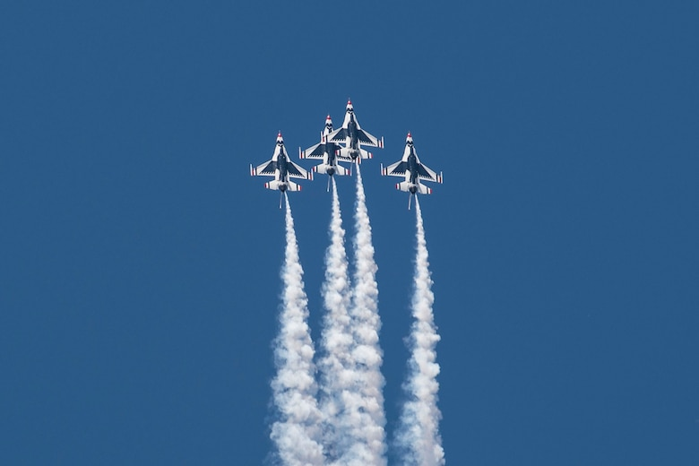 The Thunderbirds, officially known as the U.S. Air Force Air Demonstration Squadron, performs precision aerial maneuvers to demonstrate the capabilities the F-16 Fighter Falcon, the Air Force's premier multi-role fighter jet, June 10, 2017, Scott Air Force Base, Ill. Eight highly experienced fighter pilots, four support officers, three civilians, and over 120 enlisted personnel help make it possible for the team to showcase the capabilities of this fighter jet to millions of people each year. Together, this team has ensured that a demonstration has never been cancelled due to maintenance difficulty. (U.S. Air Force photo by Senior Airman Melissa Estevez)