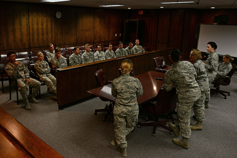 U.S. Airmen assigned to the 20th Fighter Wing legal office speak with U.S. Air Force Academy Cadets at Shaw Air Force Base, S.C., June 9, 2017. The Airmen spoke about why they decided to become legal officers and the day-to-day tasks required of them. (U.S. Air Force Airman 1st Class Kathryn R.C. Reaves)
