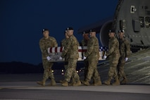 A U.S. Army carry team transfers the remains of Army Sgt. William Bays of Barstow, Calif., June 12, 2017, at Dover Air Force Base, Del. Bays was assigned to Headquarters and Headquarters Battery, 3rd Battalion, 320th Field Artillery Regiment, 101st Airborne Division and Company D, 1st Battalion, 187th Infantry Regiment, 3rd Brigade Combat Team, 101st Airborne Division, Fort Campbell, Ky. (U.S. Air Force photo by Senior Airman Aaron J. Jenne)