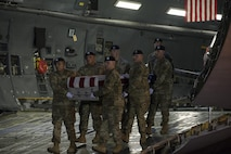 A U.S. Army carry team transfers the remains of Army Sgt. Dillon Baldridge of Youngsville, N.C., June 12, 2017, at Dover Air Force Base, Del. Baldridge was assigned to Headquarters and Headquarters Battery, 3rd Battalion, 320th Field Artillery Regiment, 101st Airborne Division and Company D, 1st Battalion, 187th Infantry Regiment, 3rd Brigade Combat Team, 101st Airborne Division, Fort Campbell, Ky. (U.S. Air Force photo by Senior Airman Aaron J. Jenne)