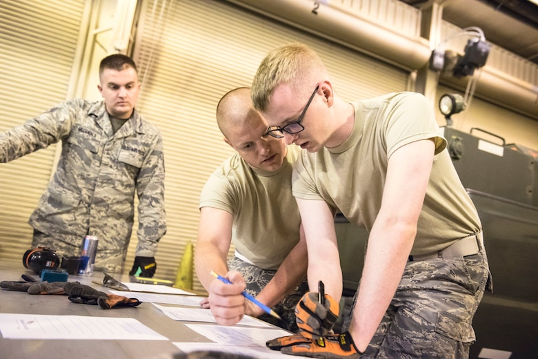 During a rodeo challenge conducted by the 167th Airlift Wing small air terminal in Martinsburg, W.Va., air transportation specialist, Staff Sgt. Chester McDonald (left), Staff Sgt. Levi Cameron (middle) and Staff Sgt. Aaron Wagner (right) work on a joint inspection (JI) that prepares cargo for air transportation, June 10, 2017. The competition involved inspecting a 10k all terrain forklift, maneuvering through a 10k standard forklift obstacle course, a joint inspection and a chain-gate cargo build-up. (U.S. Air National Guard photo by Staff Sgt. Jodie Witmer)