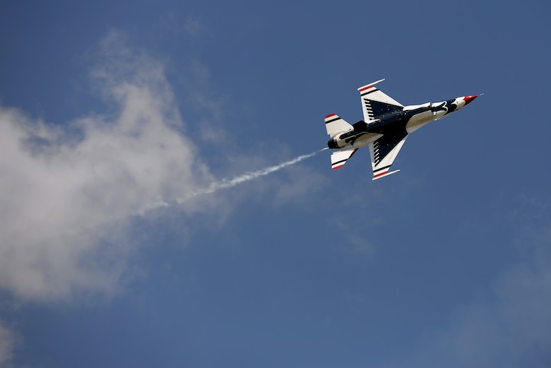 The Thunderbirds, officially known as the U.S. Air Force Air Demonstration Squadron, perform precision aerial maneuvers to demonstrate the capabilities the F-16 Fighter Falcon, the Air Force's premier multi-role fighter jet, Scott Air Force Base, Ill., June 11, 2017.   Eight highly experienced fighter pilots, four support officers, three civilians, and over 120 enlisted personnel help make it possible for the team to showcase the capabilities of this fighter jet to millions of people each year.  Together, this team has ensured that a demonstration has never been cancelled due to maintenance difficulty. (U.S. Air Force photo by Tech. Sgt. Jonathan Fowler)