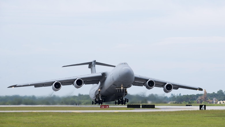 A C-5M Super Galaxy, operated by the C-5M Formal Training Unit, takes off from runway 01-19 June 8, 2017, at Dover Air Force Base, Del. The FTU, which has operated at Dover AFB since 2012, is moving its operations to Joint Base San Antonio-Lackland Kelly Field Annex, Texas. (U.S. Air Force photo by Senior Airman Zachary Cacicia)