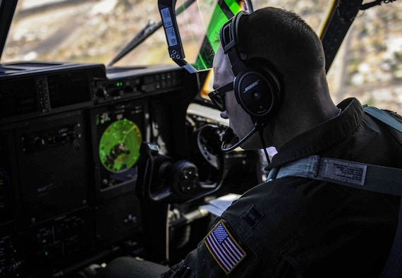 A pilot flies a C-130J Super Hercules over Las Vegas during a Weapons School Integration mission after takeoff from Nellis Air Force Base, Nev., June 2, 2017. The C-130 operates throughout the Air Force, serving with the Air Mobility Command, Air Force Special Operations Command, Air Combat Command, U.S. Air Forces in Europe, Pacific Air Forces, Air National Guard and the Air Force Reserve Command, fulfilling a wide range of operational missions in both peace and war situations. (U.S. Air Force photo by Senior Airman Kevin Tanenbaum/Released)