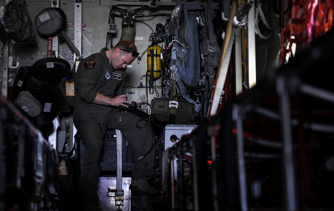 Capt. Jonathan Cordell, a pilot assigned to 29th Weapons Squadron at Little Rock Air Force Base, Ark., prepares a C-130J Super Hercules for take-off before a Weapons School Integration mission at Nellis Air Force Base, Nev., June 2, 2017. The United States Air Force Weapons School teaches graduate-level instructor courses that provide the world's most advanced training in weapons and tactics employment to officers of the combat air forces and mobility air forces. (U.S. Air Force photo by Senior Airman Kevin Tanenbaum/Released)