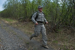 Airman 1st Class Christian Castaneda-Magana, 773d Civil Engineer Squadron, participates in the Combat Cross-Country Series Three-Mile Mountain Run at Arctic Valley, Alaska, June 9, 2017. Team members from 773d CES took first place in the competition.