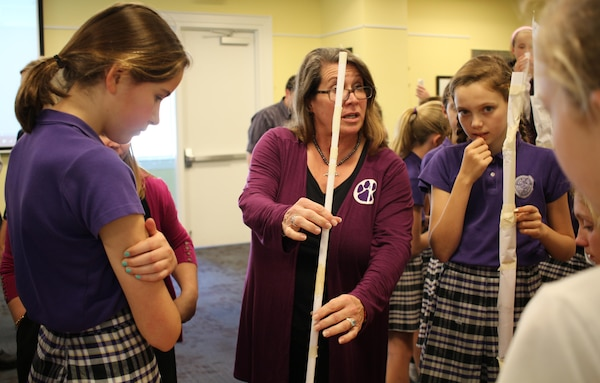 Female engineers from the Charleston District went to Ashley Hall School to teach them about their jobs and help them with the Slender Tower Challenge, where students were given limited supplies to create the tallest tower they could.