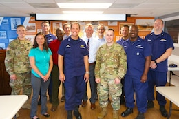 The US Coast Guard Sector Charleston presented several awards to members of the Charleston District's survey team for their rapid response in the aftermath of Hurricane Matthew.