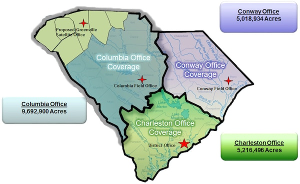 The Charleston District is opening a new satellite office in Greenville, SC. This will enable our Regulatory personnel to provide faster, timelier service to the citizens of South Carolina and save money for the taxpayer.