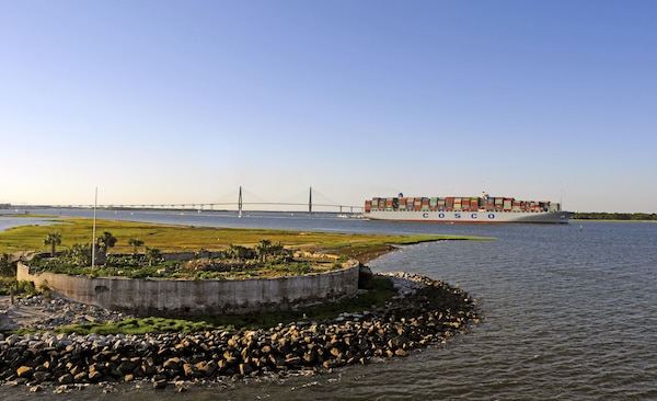 The COSCO Development cruised in to Charleston Harbor in May 2017 as the first Neo-Panamax ship to call on the Port of Charleston. Ships like the Development will become frequent visitors to Charleston after the Charleston District completes the Charleston Harbor Post 45 Harbor Deepening Project.