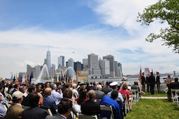 The unit's colors are passed on June 8, 2017 at New York District's change of command ceremony held adjacent to the historic Castle Williams on Governors Island, New York City.