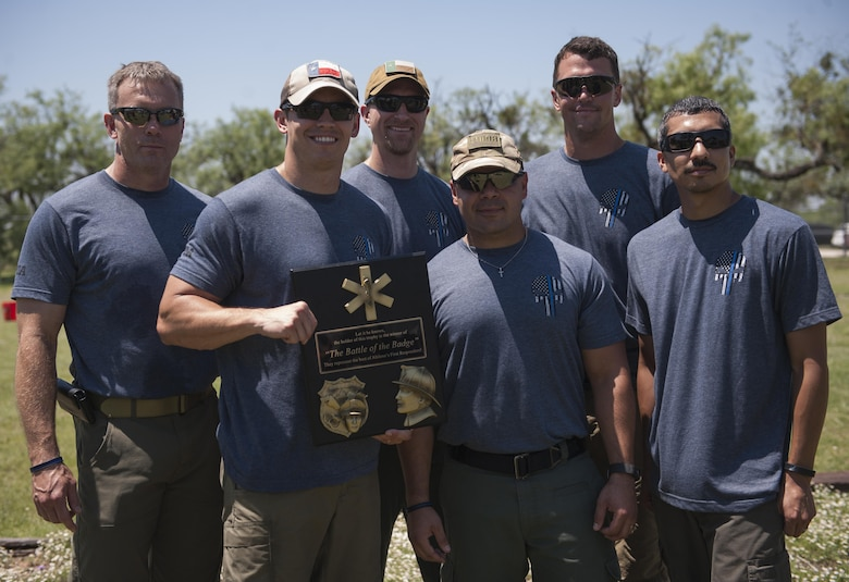 The Abilene Police Department team wins the first Battle of the Badges at Dyess Air Force Base, Texas, June 10, 2017.  The competing teams included: the Abilene Police Department, Abilene Fire Department and Dyess AFB Fire Department. (U.S. Air Force photo by Airman 1st Class April Lancto)