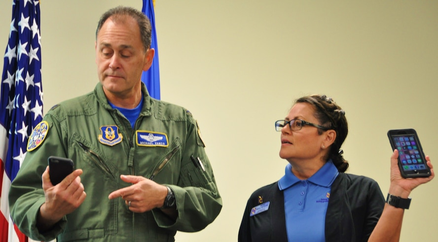 Col. Michael Vanzo, 340 Flying Training Group Director of Operations, explores the Wingman Toolkit with Senior Master Sgt. Diana Marlette, Yellow Ribbon Program event coordinator with the 433rd Airlift Wing at Joint Base San Antonio-Lackland, Texas. Marlette briefed 340 FTG Citizen Airmen on the YRP during the unit's spring MUTA at Joint Base San Antonio-Randolph, Texas on June 8-9. (Photo by Janis El Shabazz, 340 FTG Public Affairs).
