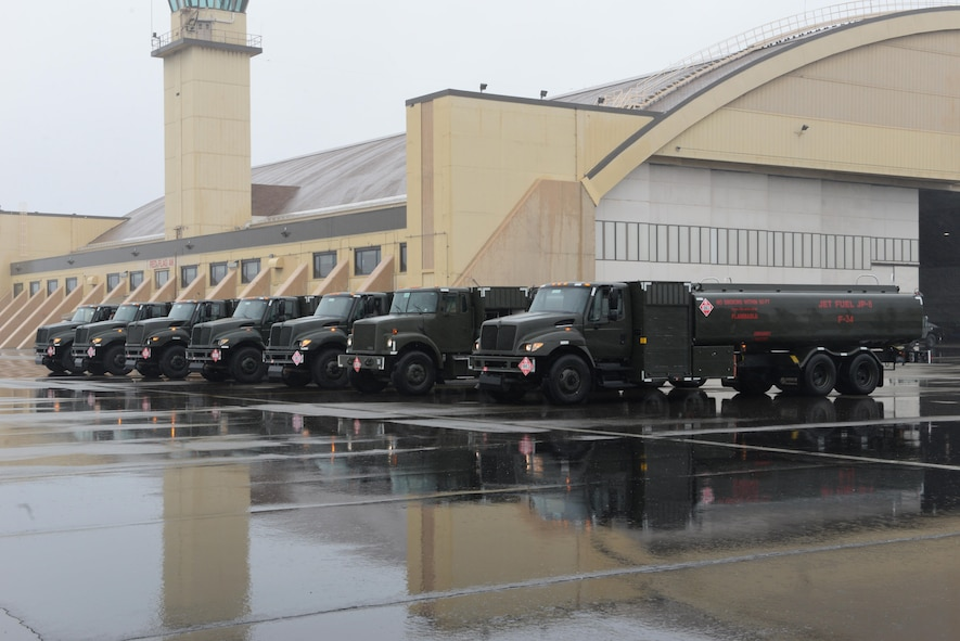 U.S. Air Force fuel trucks line up by the Thunderdome on the Eielson Air Force Base, Alaska flight line during RED FLAG-Alaska 17-2, June 12, 2017. Through snow or rain, the fuels Airmen are on the flight line to make sure aircraft of all types receive the necessary fuel they need to complete their mission. (U.S. Air Force photo by Airman 1st Class Cassandra Whitman)